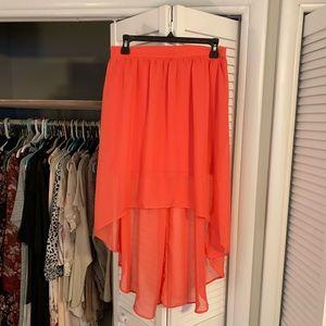 Salmon pink high-low skirt